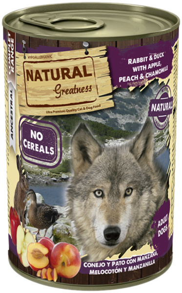 Natural Greatness Rabbit and Duck with Apple, Peach and  Chamomile 400g